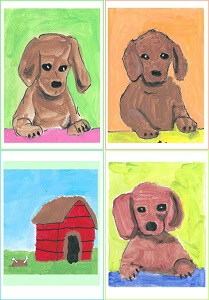 3 Dachshunds with doghouse