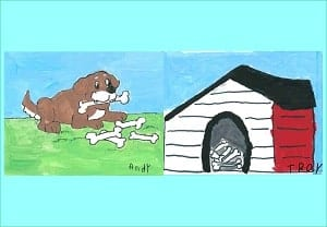 Dog doghouse and bones